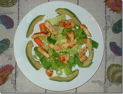 marinated chicken over salad